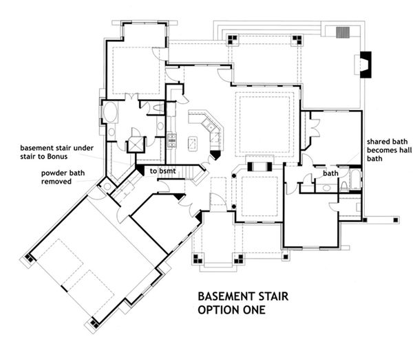 House Plan Design - Optional Lower Level Stair Placement 1