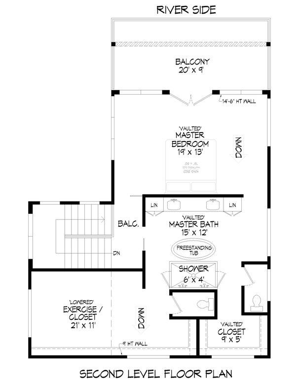 Modern Floor Plan - Upper Floor Plan #932-384