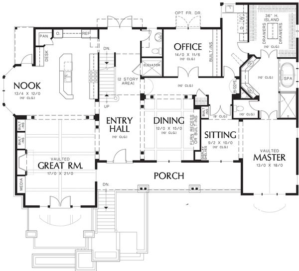Craftsman Floor Plan - Main Floor Plan Plan #48-665