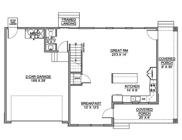 Dream House Plan - Farmhouse Floor Plan - Main Floor Plan #1073-28