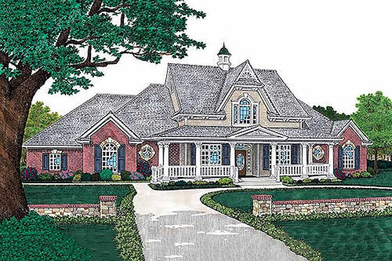 European Style House Plan - 4 Beds 3 Baths 2293 Sq/Ft Plan #310-526 Exterior - Front Elevation