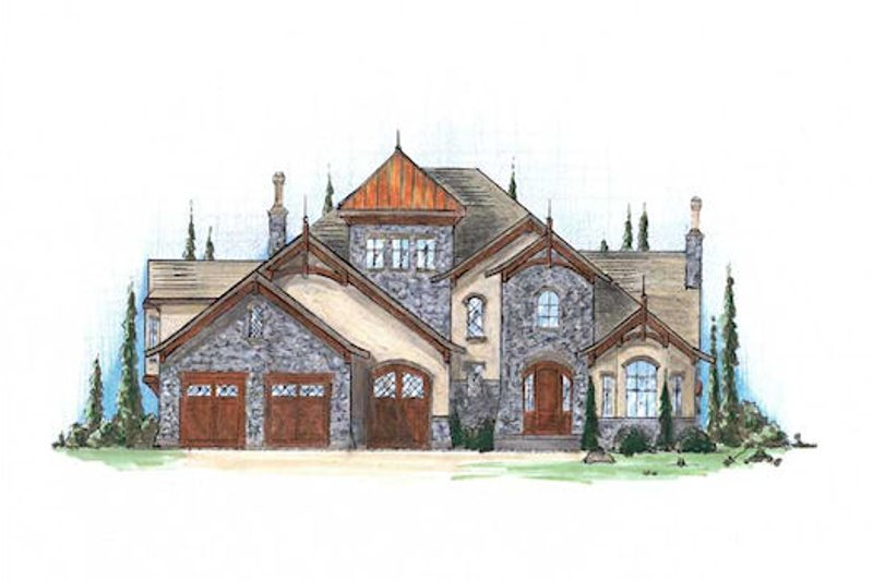 European Style House Plan - 4 Beds 4.5 Baths 4123 Sq/Ft Plan #5-418 Exterior - Front Elevation