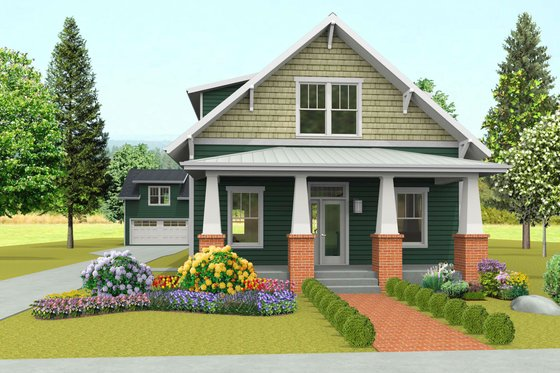 Craftsman Exterior - Front Elevation Plan #461-42