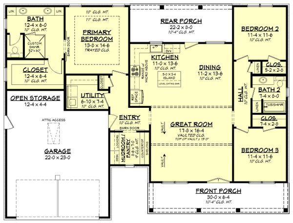 House Plan Design - Farmhouse Floor Plan - Main Floor Plan #430-241