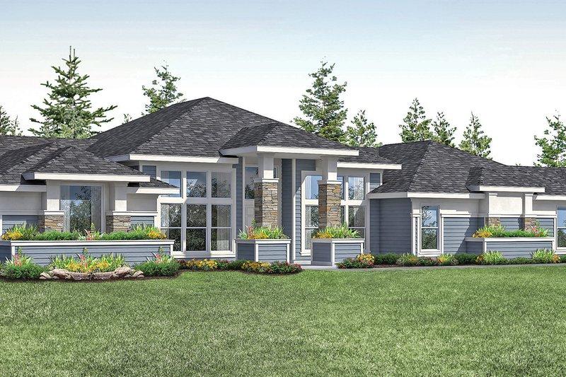 Architectural House Design - Prairie Exterior - Front Elevation Plan #124-1160