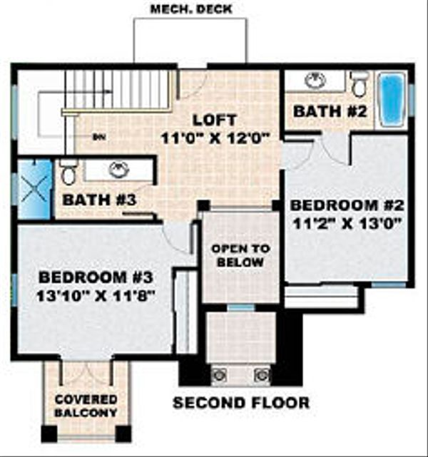 Mediterranean Floor Plan - Upper Floor Plan Plan #27-351