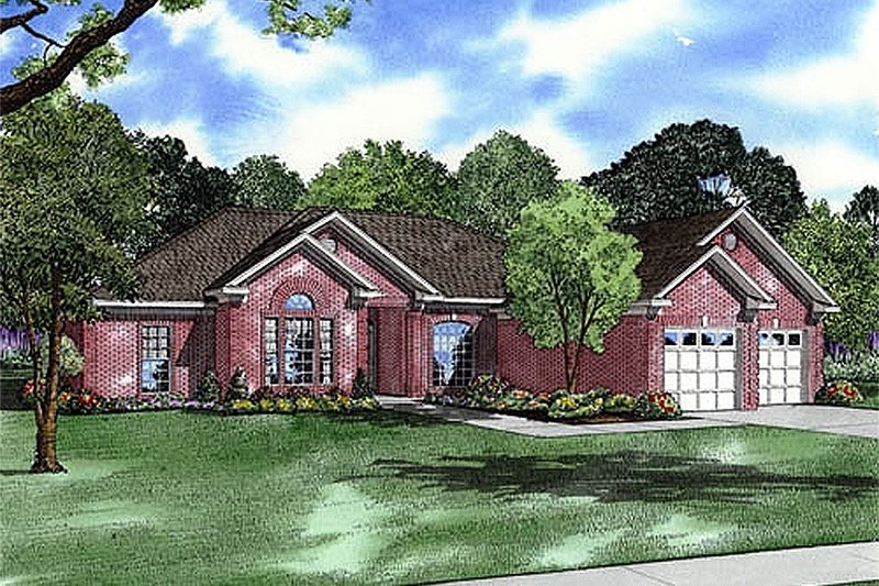 European Style House Plan - 4 Beds 3 Baths 2439 Sq/Ft Plan #17-157 Exterior - Front Elevation