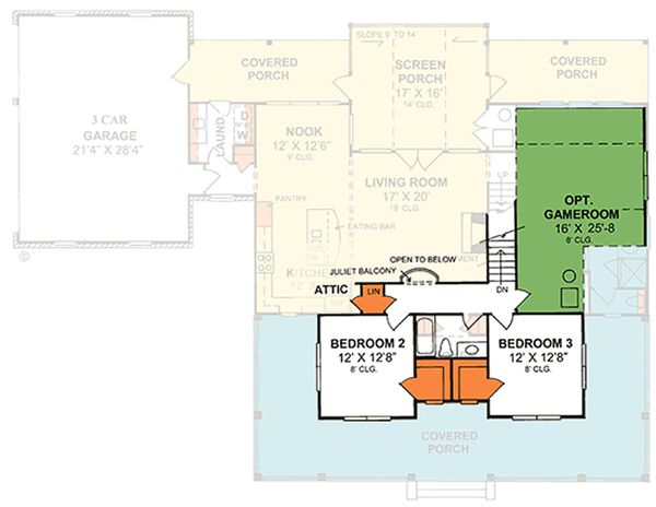 Country Floor Plan - Upper Floor Plan Plan #20-2041