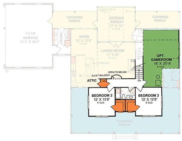 Country Floor Plan - Upper Floor Plan #20-2041