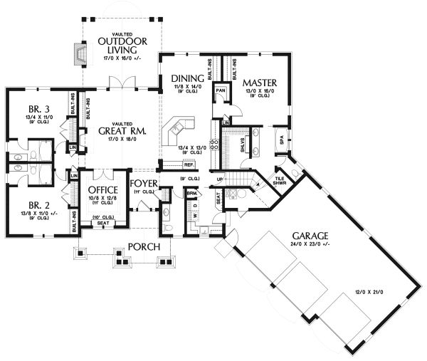 Craftsman Floor Plan - Main Floor Plan Plan #48-959