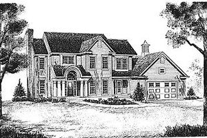 Southern Exterior - Front Elevation Plan #70-257