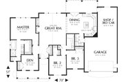 Craftsman Style House Plan - 3 Beds 2 Baths 1873 Sq/Ft Plan #48-101 Floor Plan - Main Floor