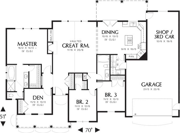 Architectural House Design - Craftsman Floor Plan - Main Floor Plan #48-101