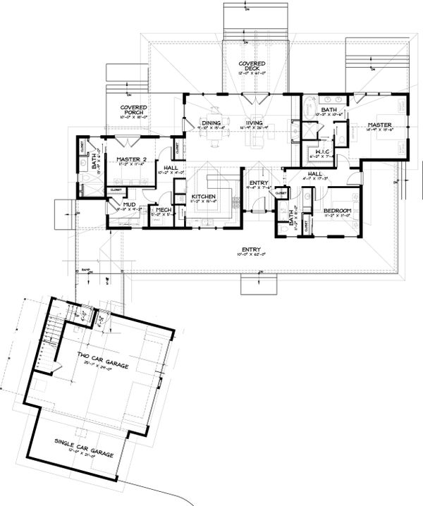Craftsman Floor Plan - Main Floor Plan Plan #895-19