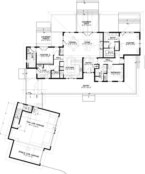 Craftsman Floor Plan - Main Floor Plan Plan #895-19