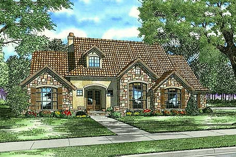European Style House Plan - 4 Beds 3.5 Baths 2788 Sq/Ft Plan #17-209 Exterior - Front Elevation