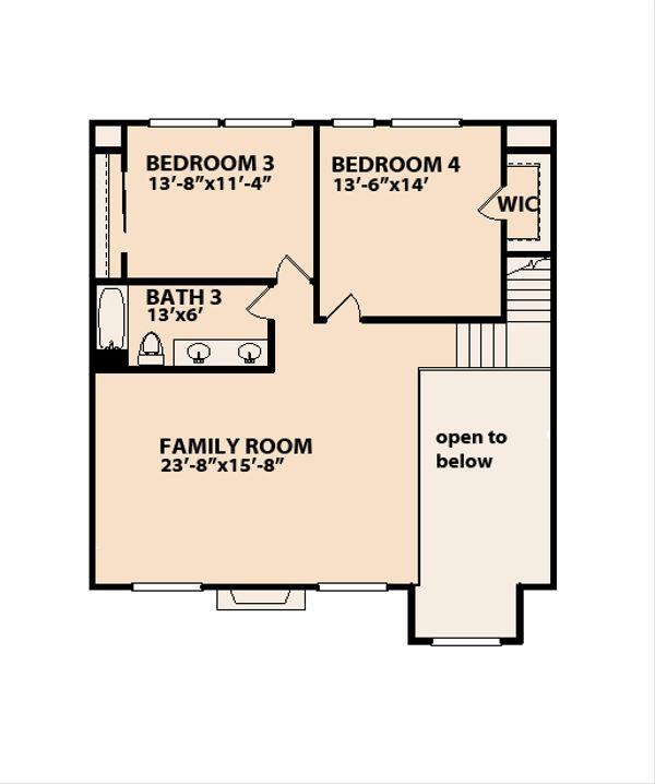 Ranch Floor Plan - Upper Floor Plan #515-17