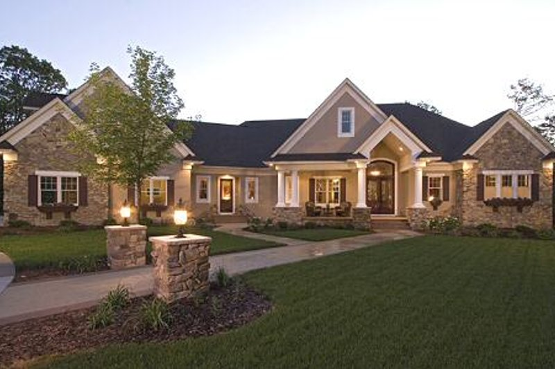 European Style House Plan - 5 Beds 4.5 Baths 6690 Sq/Ft Plan #51-338 Exterior - Front Elevation