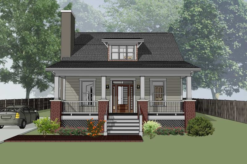 Cabin Style House Plan - 3 Beds 2 Baths 1381 Sq/Ft Plan #79-192 Exterior - Front Elevation