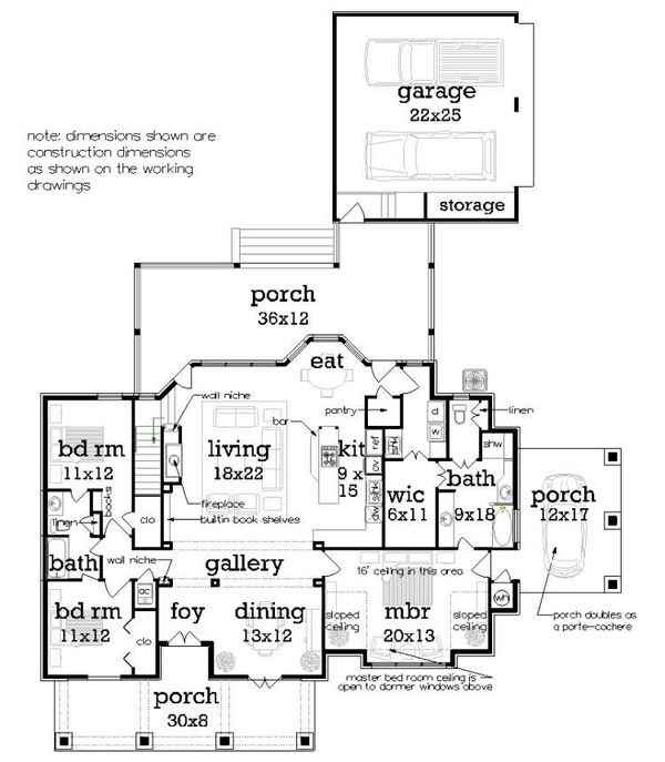 House Blueprint - Craftsman Floor Plan - Main Floor Plan #45-598