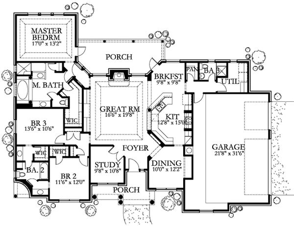 Traditional Floor Plan - Main Floor Plan Plan #80-145