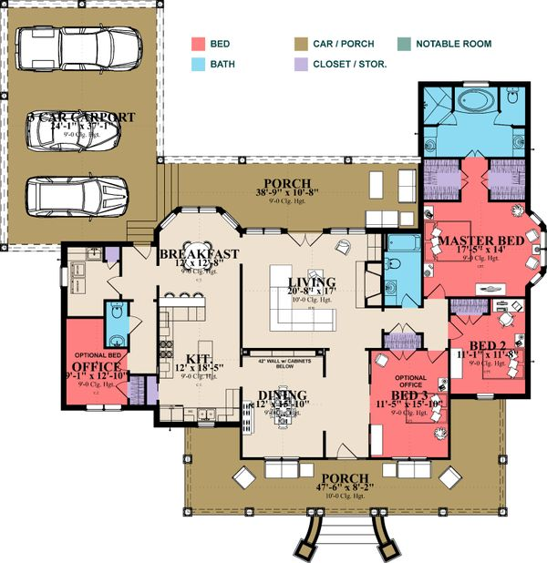 Farmhouse Floor Plan - Main Floor Plan Plan #63-385