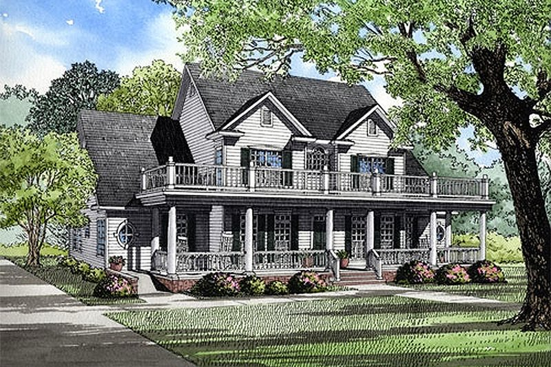 Farmhouse Style House Plan - 4 Beds 3.5 Baths 3820 Sq/Ft Plan #17-528 Exterior - Front Elevation