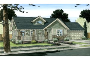 Ranch Exterior - Front Elevation Plan #126-195