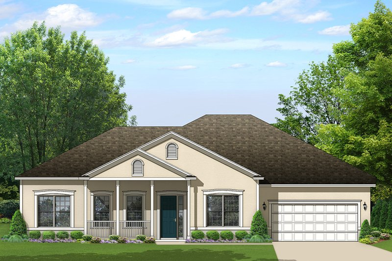 Ranch Exterior - Front Elevation Plan #1058-162
