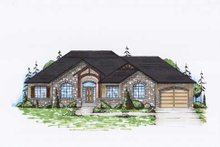 Ranch Exterior - Front Elevation Plan #5-239