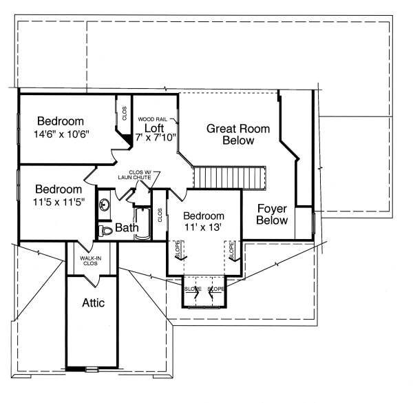 Colonial Floor Plan - Upper Floor Plan Plan #46-407