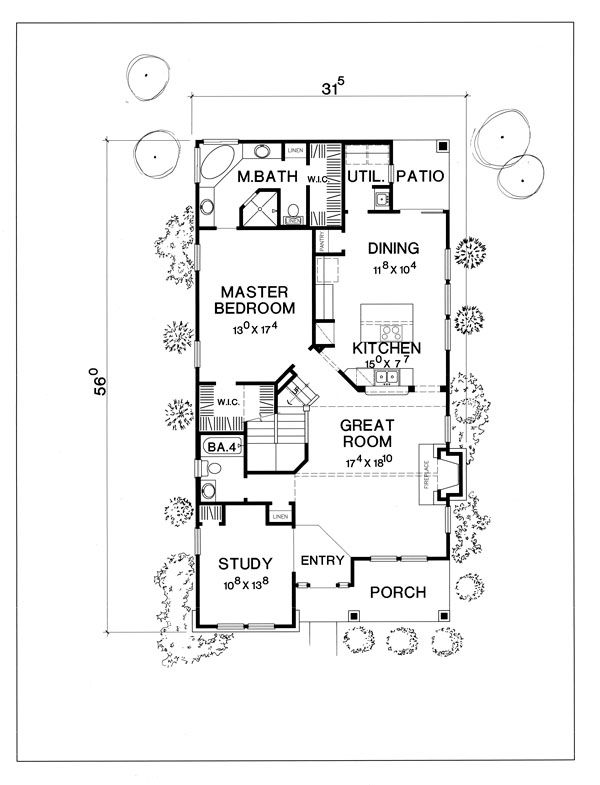Cottage Style House Plan - 4 Beds 4 Baths 2308 Sq/Ft Plan #472-9 Floor Plan - Main Floor Plan