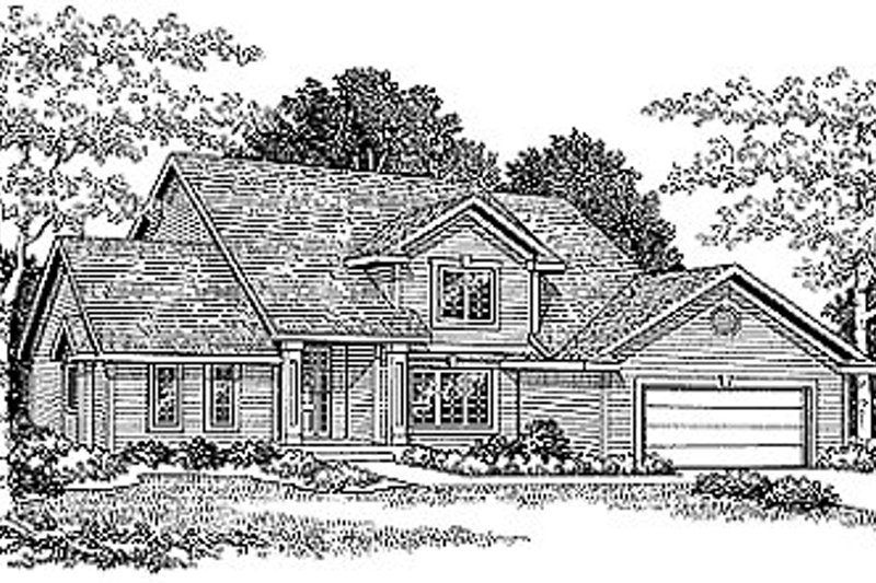 Traditional Style House Plan - 3 Beds 2.5 Baths 1900 Sq/Ft Plan #70-234 Exterior - Front Elevation