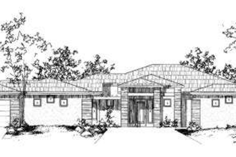 Adobe / Southwestern Style House Plan - 3 Beds 3.5 Baths 2803 Sq/Ft Plan #24-204 Exterior - Front Elevation