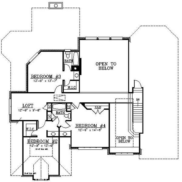European Floor Plan - Upper Floor Plan Plan #119-302