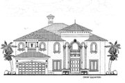 Mediterranean Style House Plan - 4 Beds 5.5 Baths 4869 Sq/Ft Plan #420-160 Exterior - Other Elevation