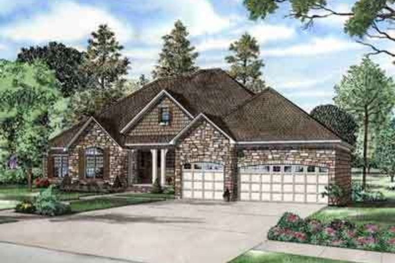 European Style House Plan - 4 Beds 3.5 Baths 5723 Sq/Ft Plan #17-2266 Exterior - Front Elevation