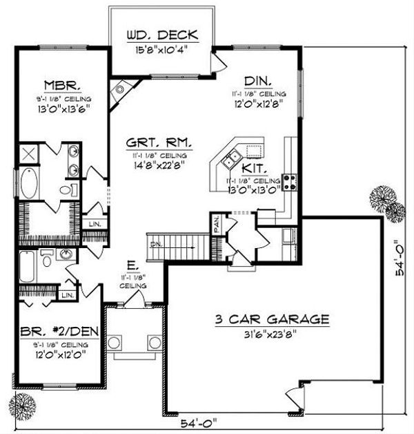 Traditional Floor Plan - Main Floor Plan Plan #70-858