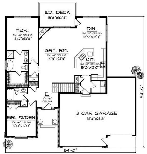 House Plan Design - Traditional Floor Plan - Main Floor Plan #70-858