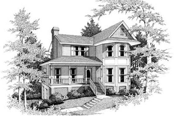 Victorian Exterior - Front Elevation Plan #10-220