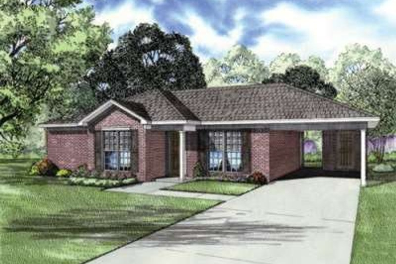 Traditional Style House Plan - 2 Beds 2 Baths 1008 Sq/Ft Plan #17-2178 Exterior - Front Elevation