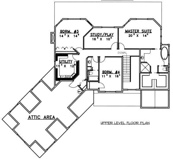 Country Floor Plan - Upper Floor Plan Plan #117-577