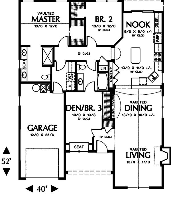 Cottage style house plan, main level floor plan