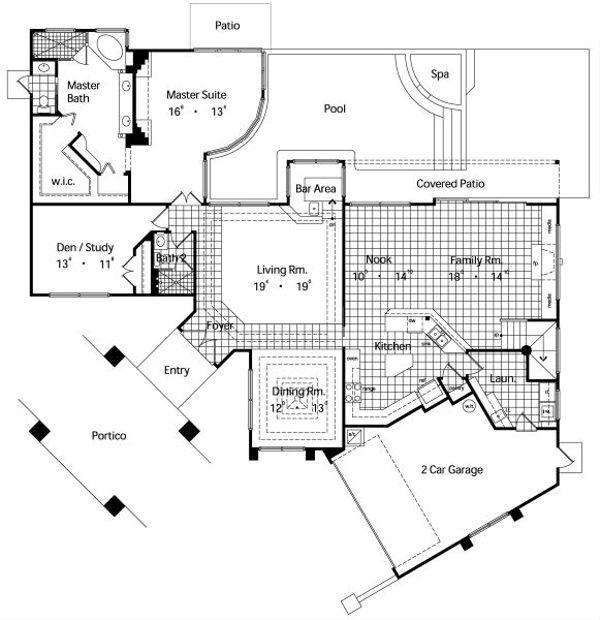 Architectural House Design - Mediterranean Floor Plan - Main Floor Plan #417-346