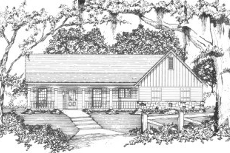 Cottage Style House Plan - 4 Beds 2 Baths 1441 Sq/Ft Plan #36-313 Exterior - Front Elevation