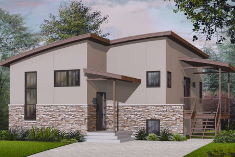 Architectural House Design - Modern Exterior - Front Elevation Plan #23-2227