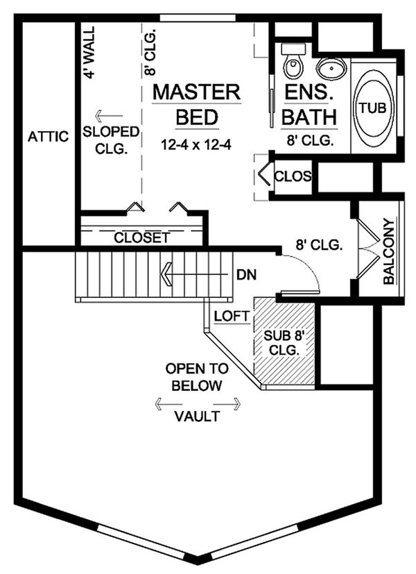 House Design - Cabin Floor Plan - Upper Floor Plan #126-194