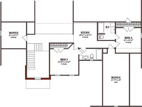 Traditional Floor Plan - Upper Floor Plan Plan #63-206