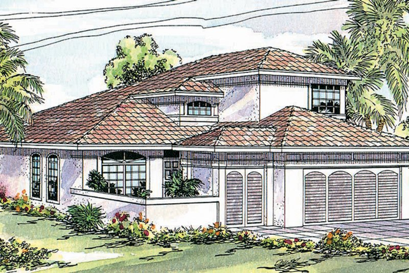 Mediterranean Exterior - Front Elevation Plan #124-426