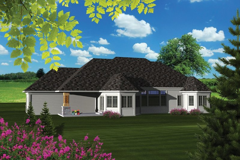 Ranch Exterior - Rear Elevation Plan #70-1086 - Houseplans.com